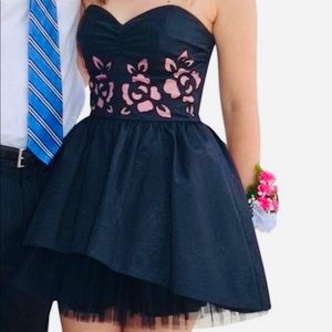 Betsey Johnson Rosette Black Tulle Cutout Dress